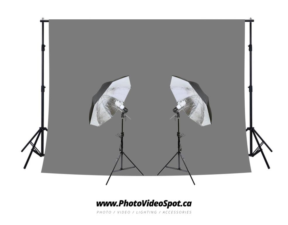 450w Photo Video Continuous Umbrella Lighting Kit + Grey Backdrop Kit