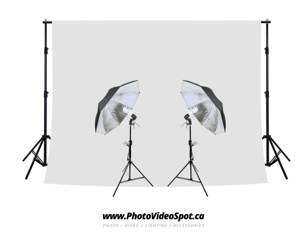 450w Photo Video Continuous Umbrella Lighting Kit + White Background Kit