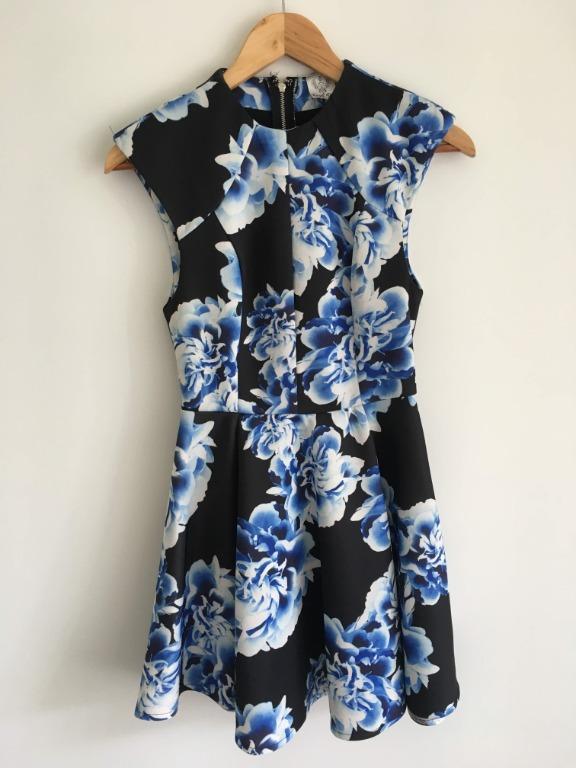 Angel Biba Size 8 Blue White Black Floral Skater Cocktail Party Dress