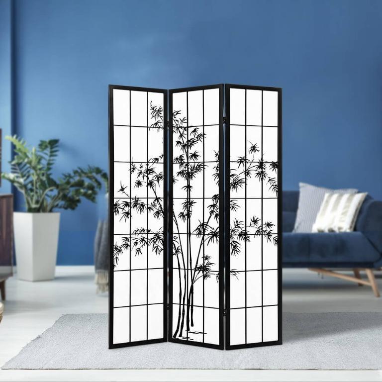 Artiss 3 Panel Room Divider Screen Privacy Dividers Pine Wood Stand Shoji Bamboo Black White