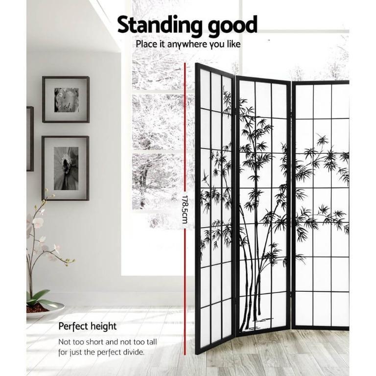 Artiss 4 Panel Room Divider Screen Privacy Dividers Pine Wood Stand Shoji Bamboo Black White