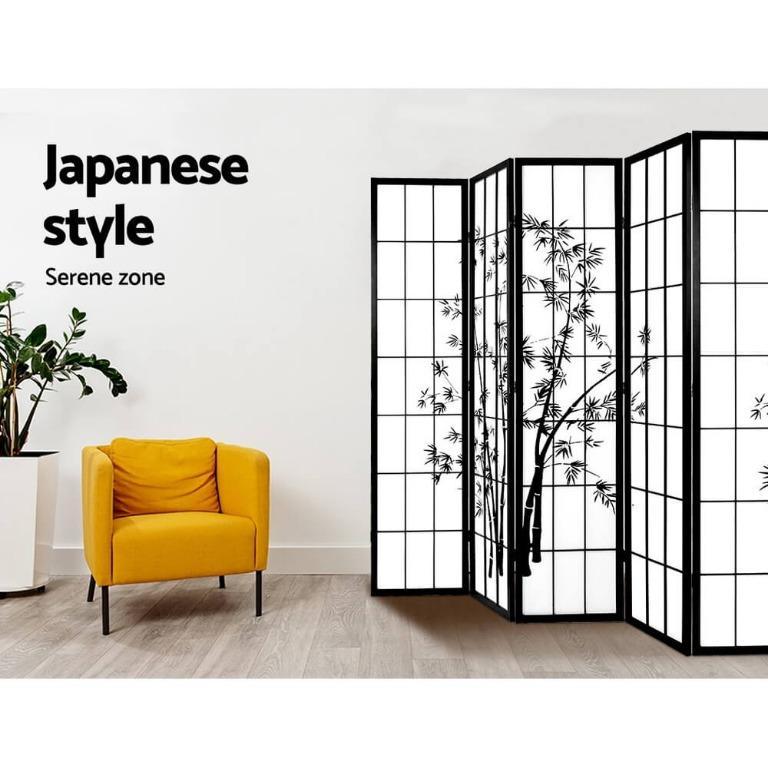 Artiss 8 Panel Room Divider Screen Privacy Dividers Pine Wood Stand Shoji Bamboo Black White