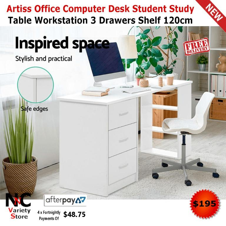 Artiss Office Computer Desk Student Study Table Workstation 3 Drawers Shelf 120cm