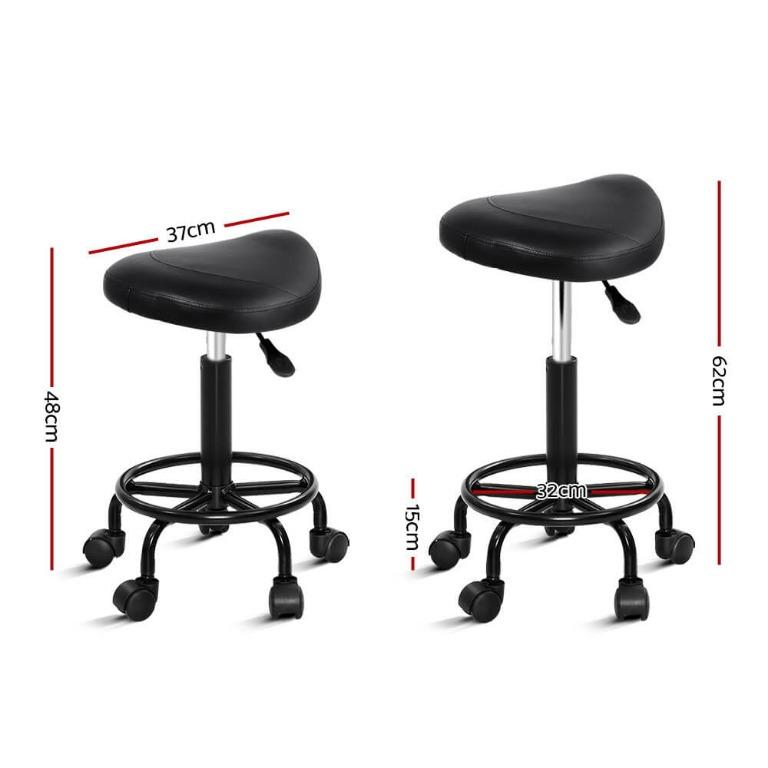 Artiss Salon Stool Black Swivel Barber SADDLE Hairdressing Bar Chairs Gas Lift