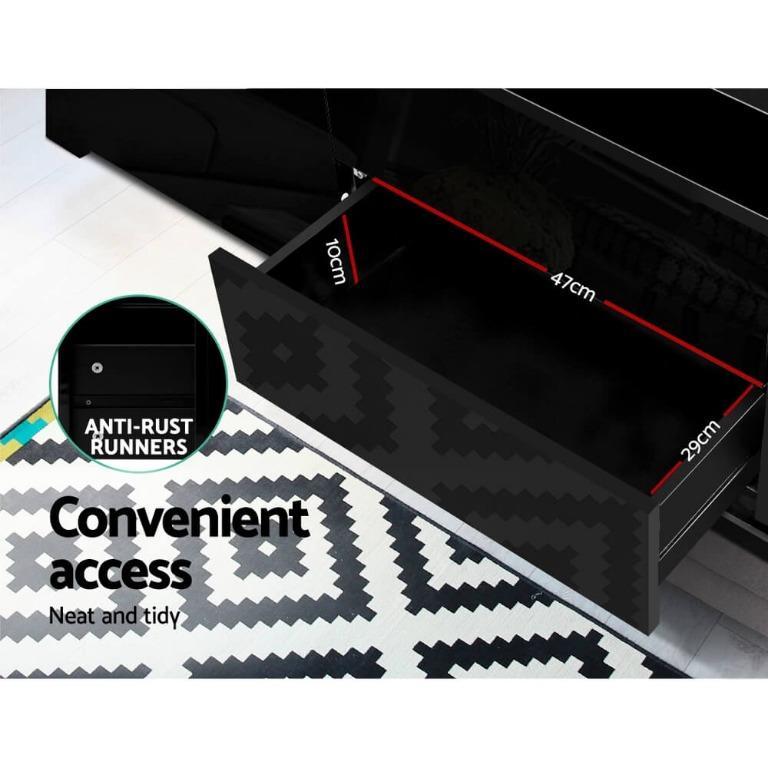 Artiss TV Cabinet Entertainment Unit Stand RGB LED Gloss Drawers 160cm Black