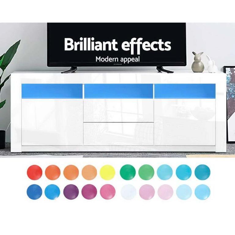 Artiss TV Cabinet Entertainment Unit Stand RGB LED Gloss Drawers 160cm White