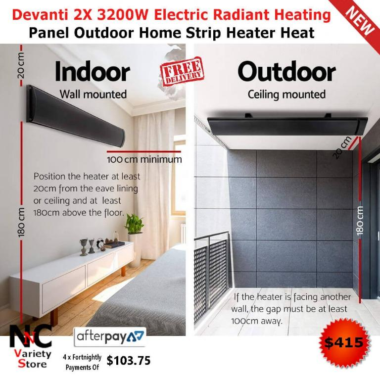 Devanti 2X 3200W Electric Radiant Heating Panel Outdoor Home Strip Heater Heat