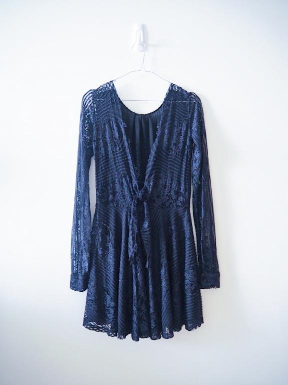 FOR LOVE AND LEMON - LITTLE BLACK BACKLESS LACE DRESS