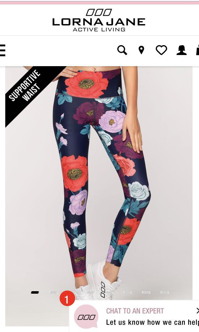 Lorna Jane flower / floral core full length tights