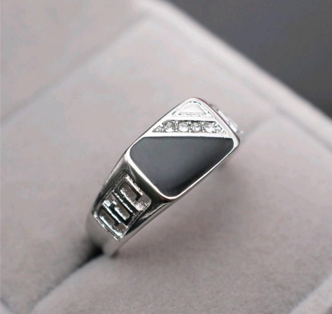 Mens 925 Sterling Silver Sapphire Diamond CZ Wedding Ring
