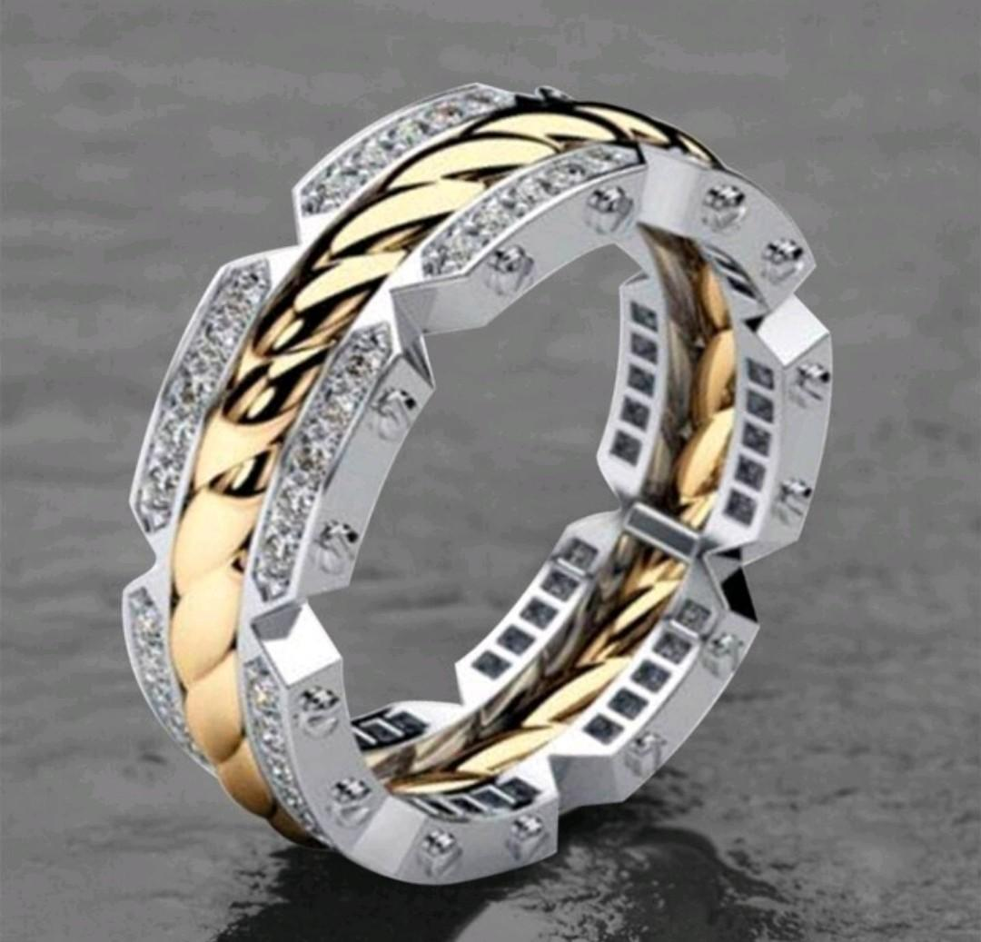 Mens White Gold Two Tone Diamond Rope Engagement Ring