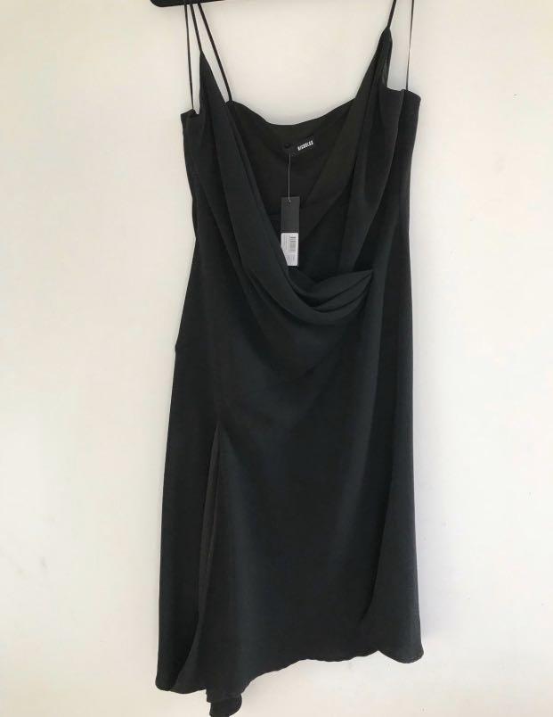 Nicholas Strapless Black Midi Dress Size 16 RRP $580