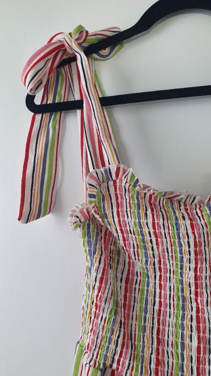 NWT ASOS Multi-colour Stripe Summer Dress Tie Straps Size 8