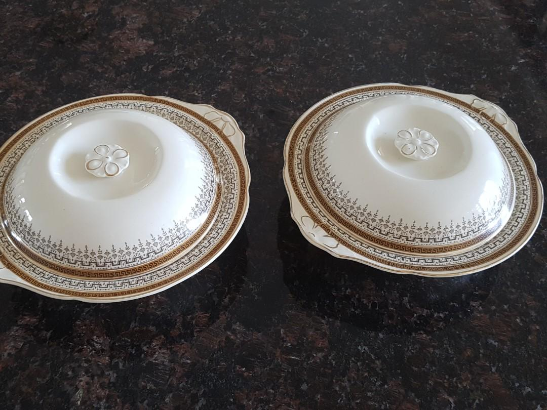 PAIR OF TUREENS WITH COVERS ART DECO STYLE BY J & G MEAKIN ENGLAND