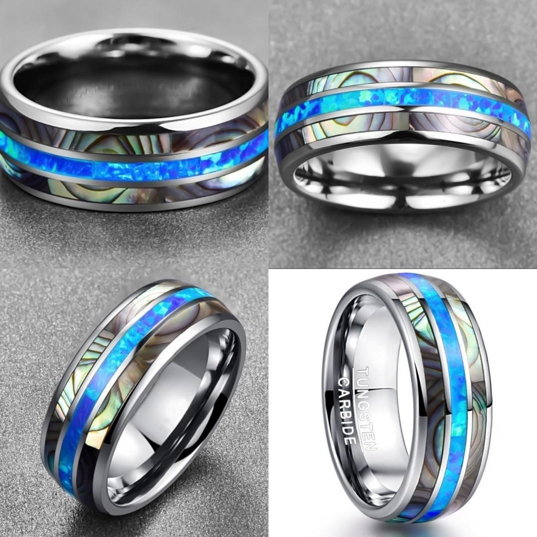 Tungsten Steel Carbide Inlaid Shells Blue Opal Men Ring