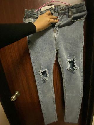 全新牛仔破褲