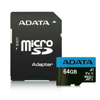 ADATA威剛microSDHC 64GB A1、V10等級記憶卡