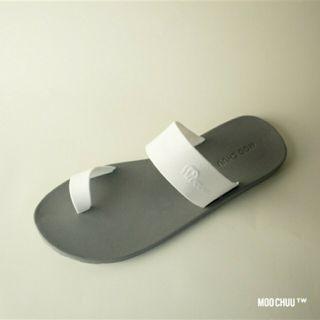 MOOCHUU虛度光陰-白雙環灰底拖鞋