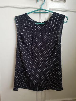 Mango polka dot sleeveless blouse