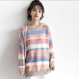 彩條針織毛衣