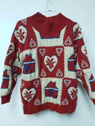 聖誕元素紅毛衣,超級保暖