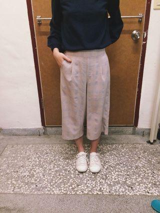 藕粉色格紋寬褲 #出清2019