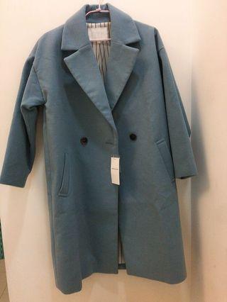 全新!日本品牌 American holic    baby藍過膝長大衣