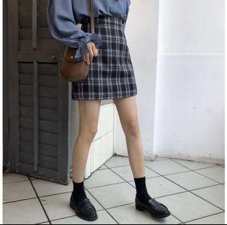 大尺碼 5L方格短裙