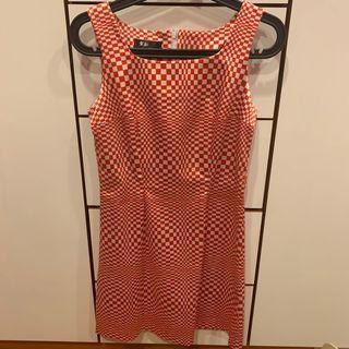 復古!!紅格洋裝