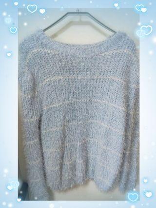 💕水藍白條紋海毛毛衣