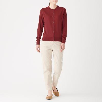 ㊣現貨快出㊣ MUJI無印良品 女裝針織衫羊毛混蠶絲可水洗圓領開襟衫 (紅)L