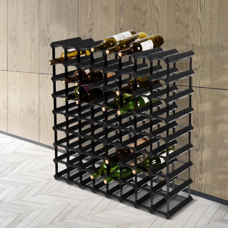 Artiss 72 Bottle Timber Wine Rack Wooden Storage Wall Racks Holders Cellar Black