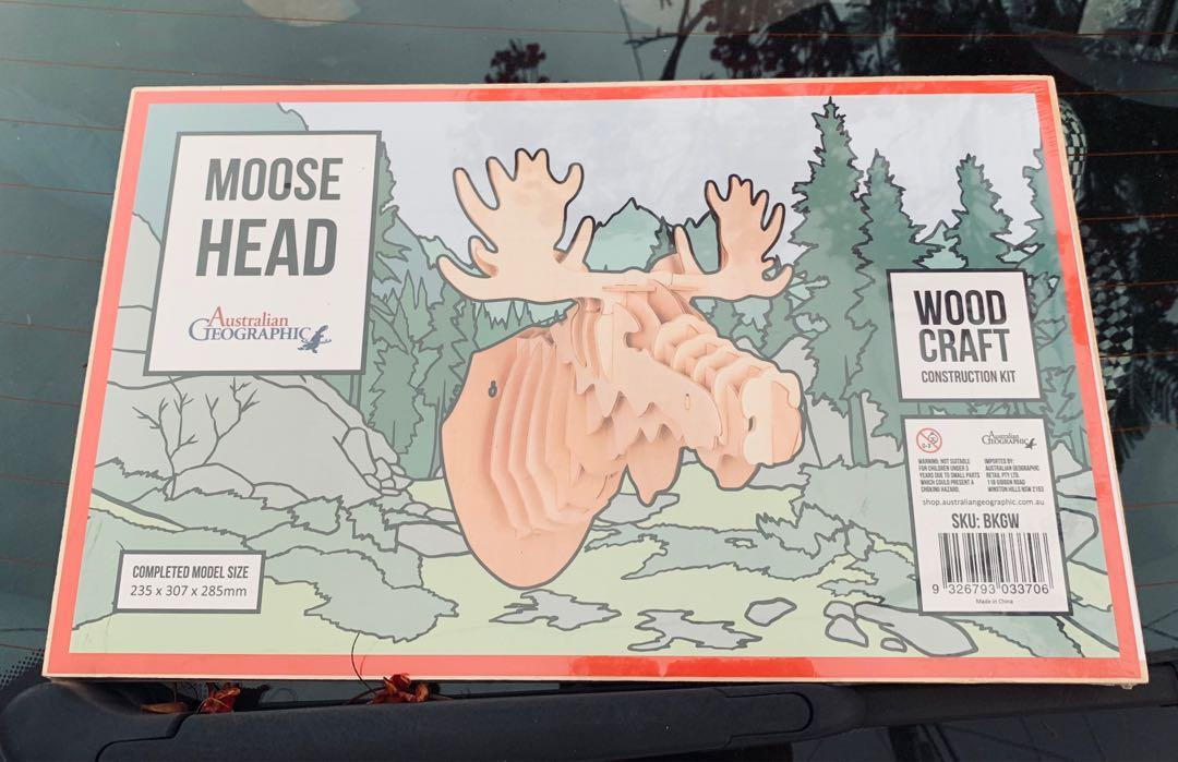 Australian Geographic Woodwork Moose Head Brand New