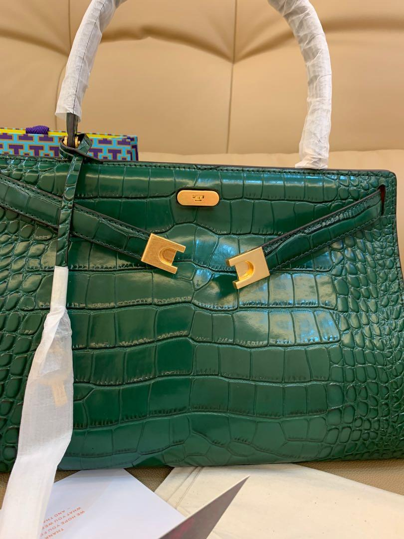 Authentic Tory Burch lee Radziwill embossed totes bag in crocodile green without strap