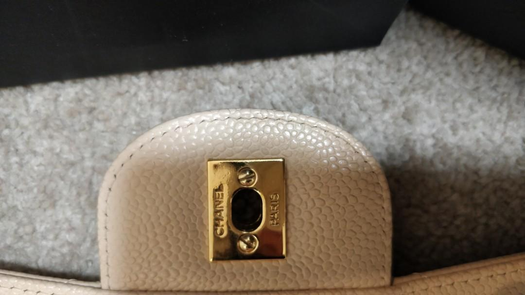 Chanel jumbo caviar beige classic gold hardware single flap for sale