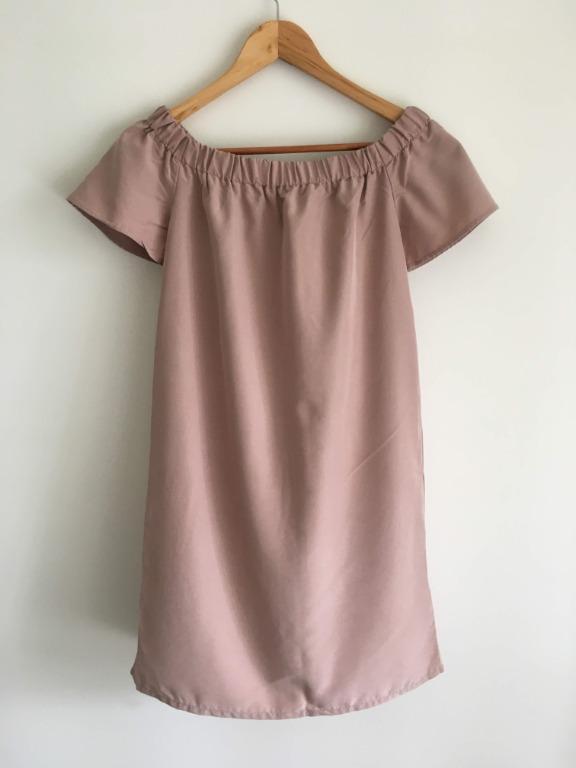 H&M Size 8/10 Blush Pink Off-Shoulder Summer Dress
