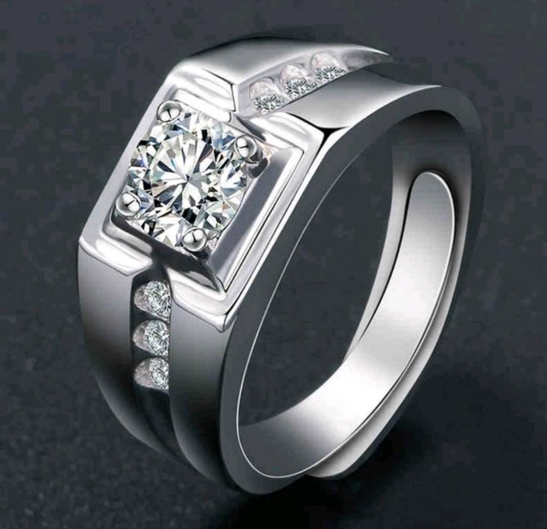 Men's 925 Sterling Silver White Gold Plated 1CT CZ Ring