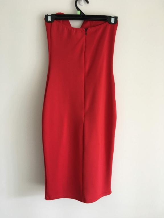 Missguided Size 8 Midi Strapless Red Bodycon Dress