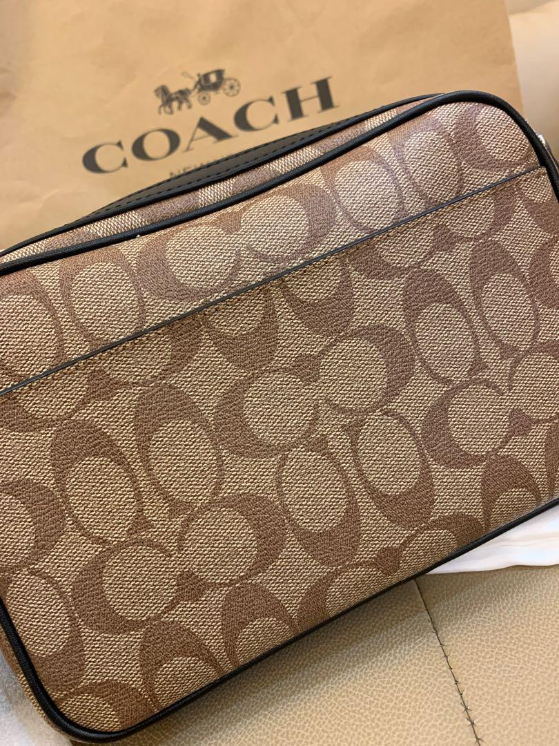 Ready stock Authentic coach men sling bag 50715 in monogram brown crossbody strap