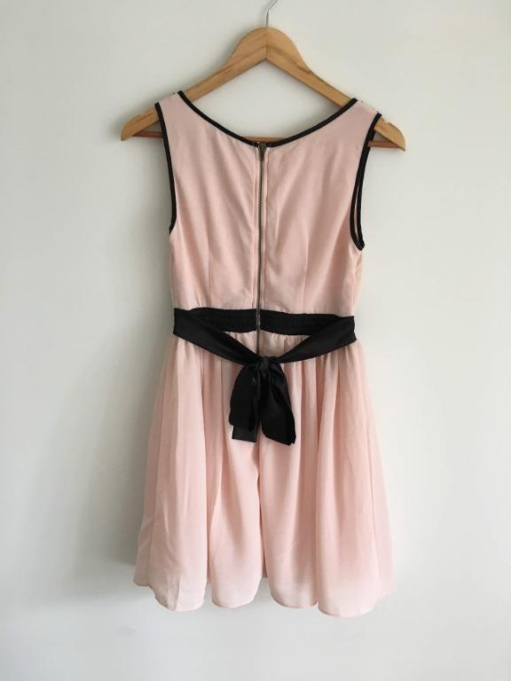 TFNC London S Pink Party Cocktail Dress With Black Embellishments and Tie Waist