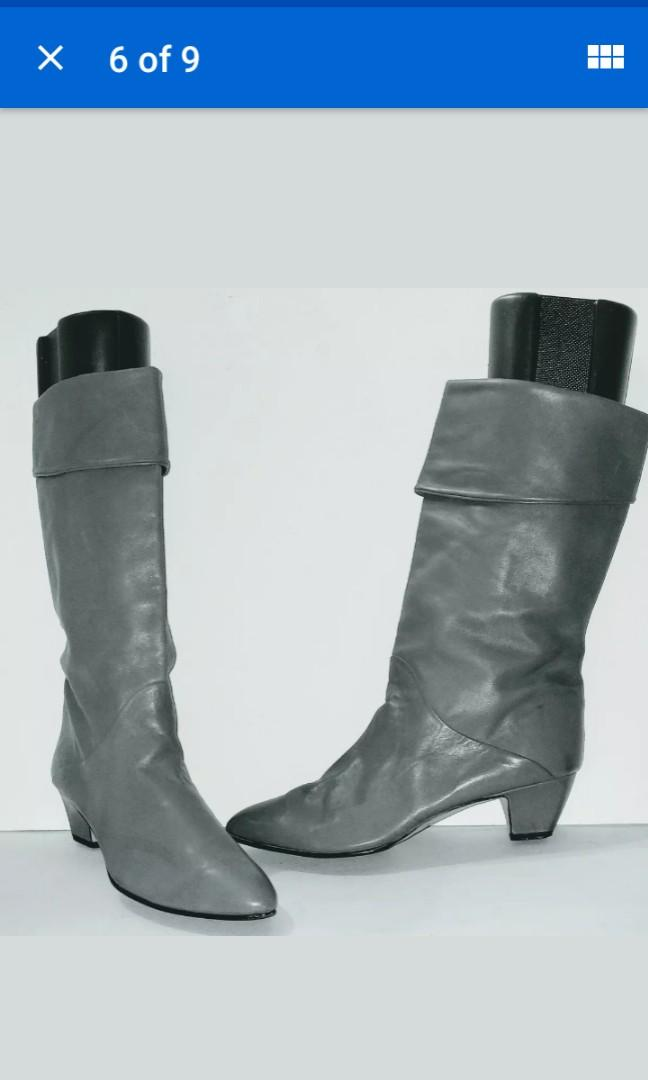 Vintage Bandalino Gray real Leather Boots Wear Cuffed or Tall Size 11 Made In Italy (Unworn, New Condition!)