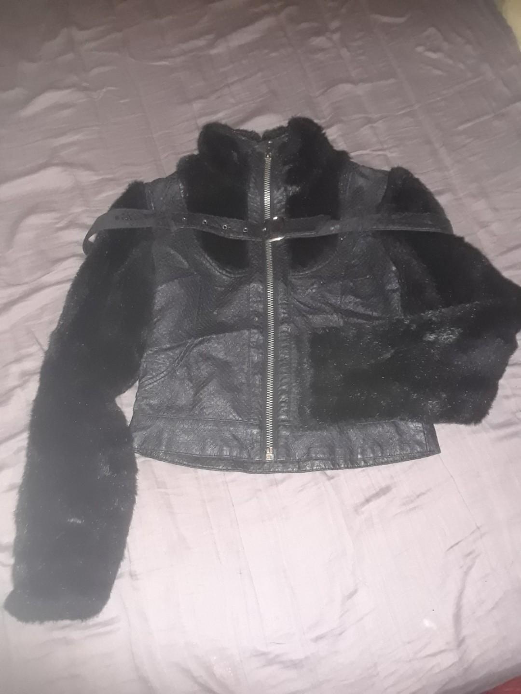 Vintage fur collar & sleeves lip service coat moto jacket bomber style Small