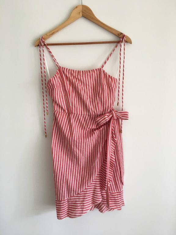 XS Jamie, My Love Red And White Stripe Caribbean Craze Summer Dress