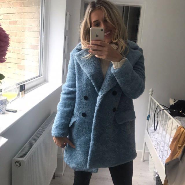 #1111special ZARA Blue Wool Winter Coat