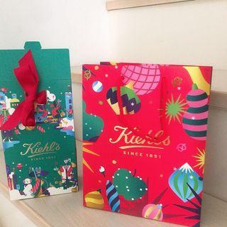 kiehls耶誕限量包裝紙袋