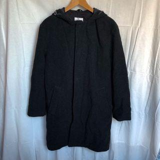 義大利製古著羊毛黑色連帽大衣