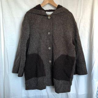 morning deer日本製棕色拼接連帽羊毛古著大衣
