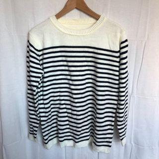 韓國黑白寬鬆條紋毛衣
