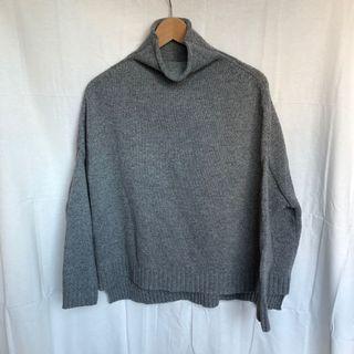 韓國製卷邊高領厚實寬鬆灰色毛衣