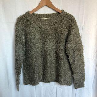 咖綠卷卷毛衣